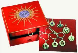 Regnbågsvävar Box med smycken och kedja