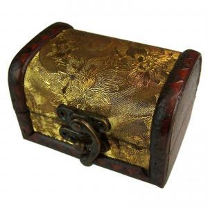 Liten träkista Colonial, guld