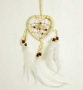 Cleo Liten hjärtformad drömfångare, naturvit
