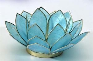 Regnbågsvävar Lotusblomma för värmeljus, akvamarin