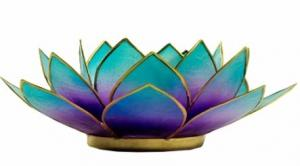 Regnbågsvävar Lotusblomma för värmeljus, blå-lila