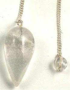 Regnbågsvävar Pendel Bergkristall - droppformad med kedja