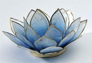 Regnbågsvävar Lotusblomma för värmeljus, blå